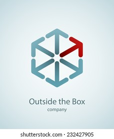 Cube logo made of arrows. Thinking outside the box concept. EPS10 vector image.