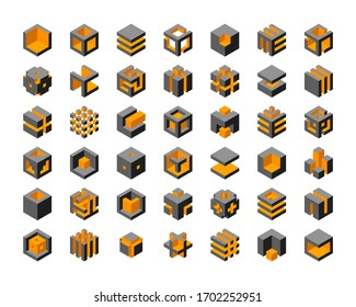 Cube logo vector design.  Cubes 3d set template graphic elements.