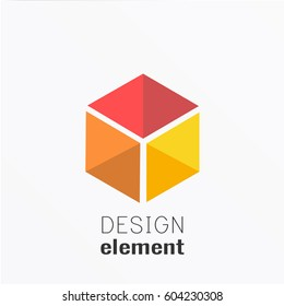 Cube on polygon background logo design template