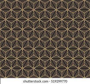 cube. pattern. Seamless geometry design. gold on black. Vector illustration. Optical illusion.