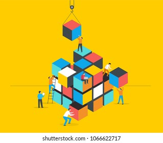 Cube Puzzle Solution Solving Problem Concept banner, vector concept design