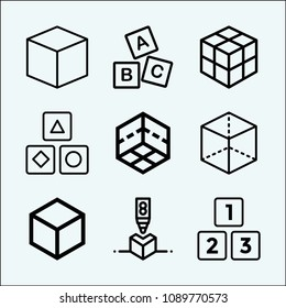 Cube related set of 9 icons such as abc block, cube, 3d, rubik, 3d cube