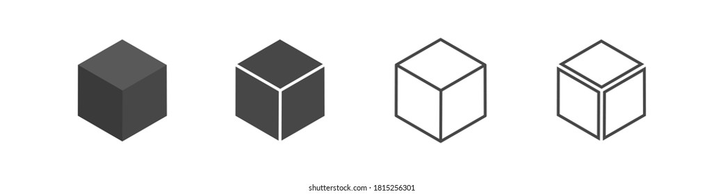 Cube set isolated vector icon. 3D box in different styles. Black block symbol for web and app design