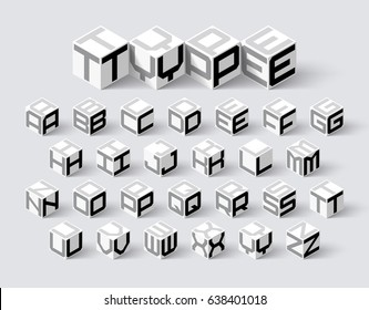 Cube shape 3d isometric font, three-dimentional alphabet letters vector illustration
