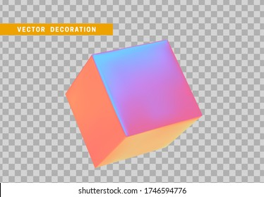 Cube is three-dimensional geometric shape isolated with colorful hologram chameleon color gradient. 3d objects block. vector illustration.