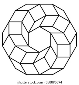 Cube torus illustration, hyperspace, sacred geometry