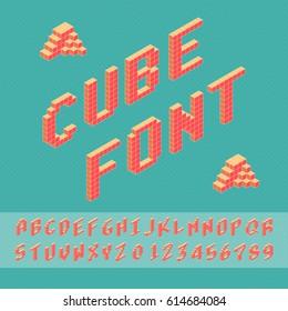 Cube vector font. 3D alphabet. Font Template for Design.