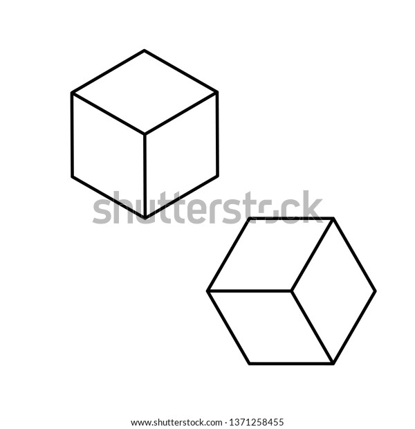 Cube Vector Icon Isolated On Transparent Stock Vector