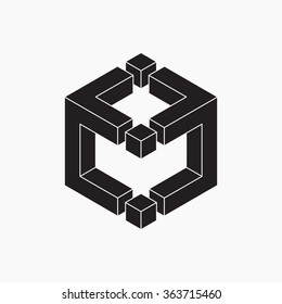Cube, vector illustration, black and white, optical illusion