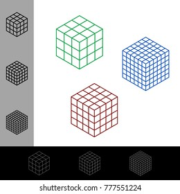 Cube wireframe set.Vector outline illustration.Isometric projection.