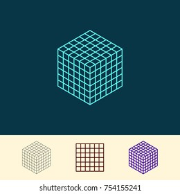 Cube wireframe. Vector outline illustration.Isometric projection.