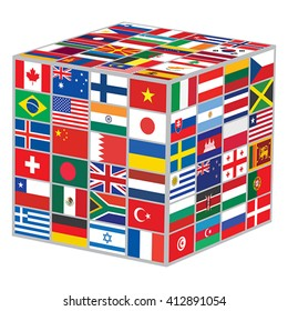 cube with world flags vector illustration