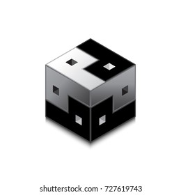 Cube Yin and Yang. An unusual look at the concept of male and female beginnings in Eastern philosophical doctrines. The struggle of opposites in different planes.