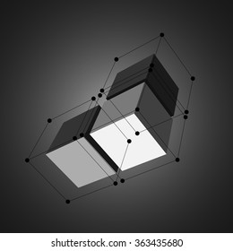 Cubes with black dots and lines. Vector illustration.