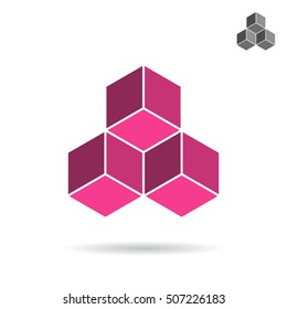 Cubes collected together, cube icon, cooperation concept, 3d isometric vector illustration, isolated on white background, eps 10