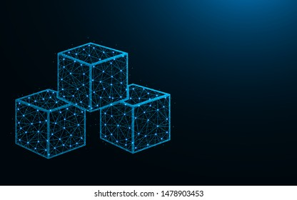 Cubes low poly design, sugar abstract geometric image, ice cube wireframe mesh polygonal vector illustration made from points and lines on dark blue background