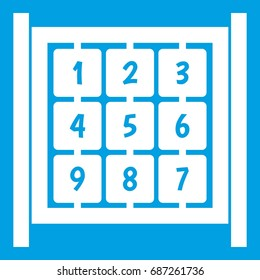 Cubes with numbers on playground icon white isolated on blue background vector illustration