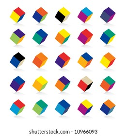 Cubes in various combinations of colors for training