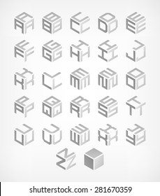 Cubic alphabet set. Modern 3d geometric font. Vector Illustration