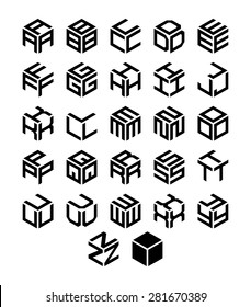 Cubic alphabet set. Vector geometric font