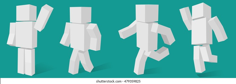 cubic character in four different poses.