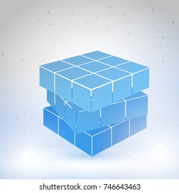 Cubic constructed of many blocks. Isometric cubes for 3d designing. Mathematical object with mental trick. Optical illusion of brain. Symbol with three dimensional effect.