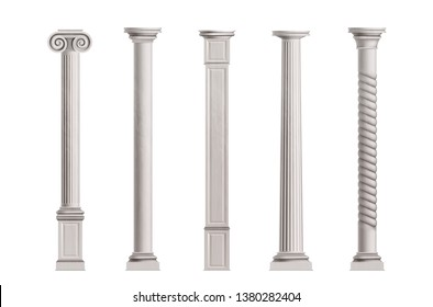 Cubic and cylindrical columns of white marble stone with smooth and textured surface 3d realistic vector illustrations set isolated on white background. Antique or classic architecture design elements