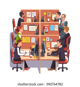 Cubicle office work space with employees at the desks and supervising boss. Flat style color modern vector illustration.