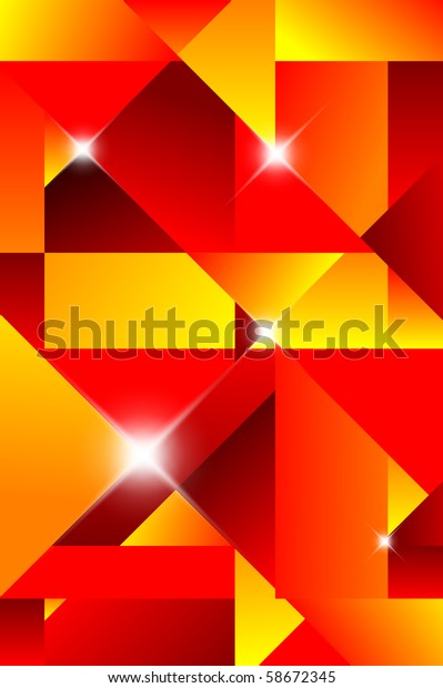Cubism abstract background - red and yellow