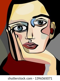 cubism art style,person worried close-up