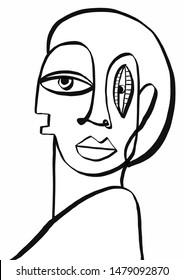 Cubism impressionism abstract portrait. Modern art.