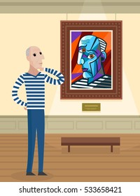 cubist great painter face portrait painting staring