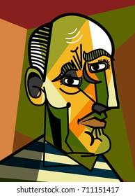 cubist old man