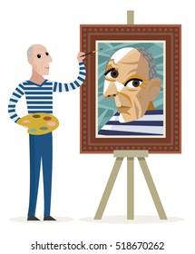 cubist painter creating a portrait
