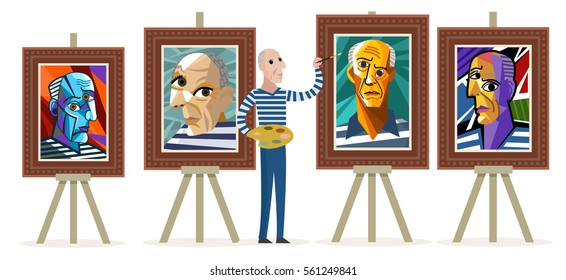 cubist painter creating self portraits