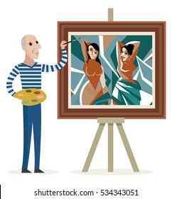 cubist painter painting beautiful women