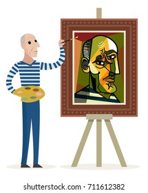 cubist painter painting a portrait