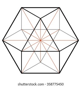 Cuboctahedron, vector equilibrium, sacred geometry, platonic solids, line drawing