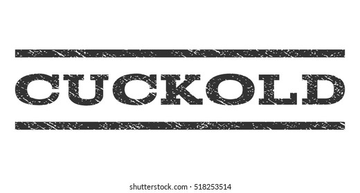 Cuckold watermark stamp. Text tag between horizontal parallel lines with grunge design style. Rubber seal stamp with dirty texture. Vector gray color ink imprint on a white background.