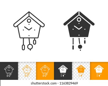 Cuckoo Clock black linear and silhouette icons. Thin line sign of watch. Time outline pictogram isolated on white, transparent background. Wall watch vector icon. Cuckoo Clock simple symbol closeup