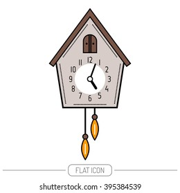 Cuckoo clock. Color flat icon isolated on a white background