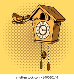 Cuckoo clock comic book pop art retro style vector illustration