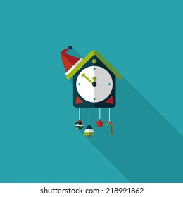 Cuckoo clock flat icon with long shadow,eps10