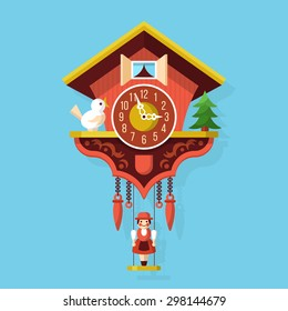 Cuckoo clock flat style vector illustration