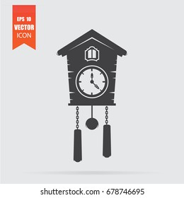 Cuckoo clock icon in flat style isolated on grey background. For your design, logo. Vector illustration.