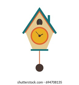 Cuckoo clock icon in flat style  on a white background.  Vector illustration.