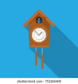 Cuckoo clock icon vector flat design.