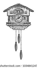 Cuckoo clock illustration, drawing, engraving, ink, line art, vector