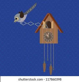 Cuckoo clock on blue background wallpaper.