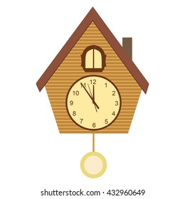 Cuckoo-clock vector illustration isolated on white background. Wooden cuckoo clock in flat style.